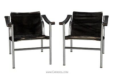 Pair of Le Corbusier LC1 Signed Arm Chairs Designed in 1929 for Cassina