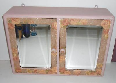 Vintage Pink Double medicine bathroom Apothecary Cabinet  Beveled Glass mirror