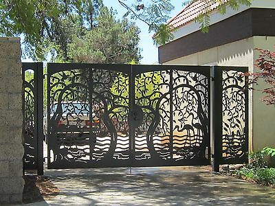 CUSTOM DRIVEWAY GATE WALK ENTRY METAL PANELS  IRON GARDEN WROUGHT IRON STEEL