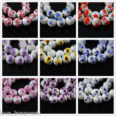 10pcs 12mm Round Porcelain Ceramic Flower Design Loose Spacer Beads Mixed Colors