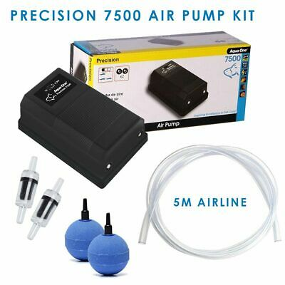 Aquarium Air Pump Kit - Aqua One 7500 Precision -5m Airline Check Valve Airstone