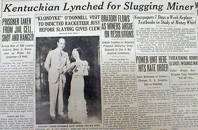1934 newspaper Negro man Lynched by White mob HAZARD Kentucky for Attack onWhite