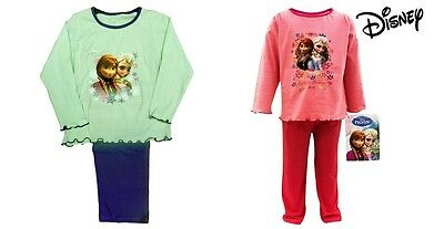 New Girls Official Disney Frozen Pyjamas Long Sleeve Pink Green Age 1 2 3 4 5