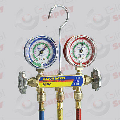 "Yellow Jacket 41219 - Series 41 Manifold, 2.5"" Gauges, 72"" Hoses, R-12/22/502"