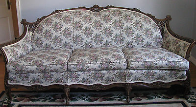Antique Vintage Victorian Hand Carved Mahogany Tuffed Gilt  French Sofa Couch