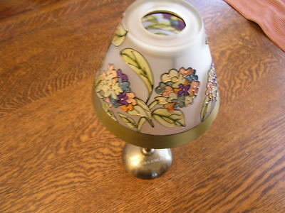 """Laura Ashley Glass Floral Shade TeaLight Battery Candle Holder 10"""" Lamp"""
