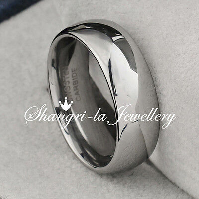 MENS TUNGSTEN CARBIDE High POLISHED SILVER Wedding RING BAND ALL SIZE JS001
