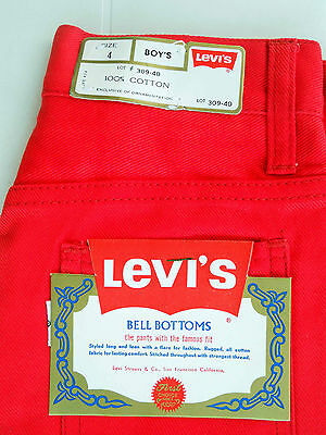 RED JEANS 424 Vintage Bell Bottoms 1970's - Levi's (NEW & LABELS)