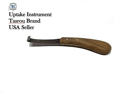 Hoof Knife, Narrow Edge with Left hand wooden handle Tasrou Brand Veterinary