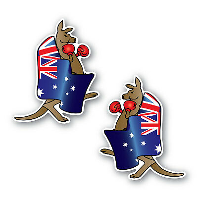 Aussie flag boxing kangaroo sticker 2 pack 120mm vinyl water & fade proof