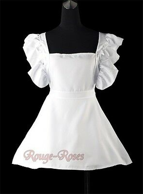 White Victorian Ruffles Lace S-6XL Bib Apron Maid Smock Costume Play  RR 4167