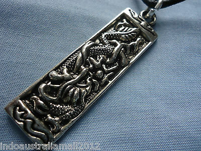 Chinese  Dragon Antique Silver Alloy Jewelry Pendant on Black Cord(K10452)