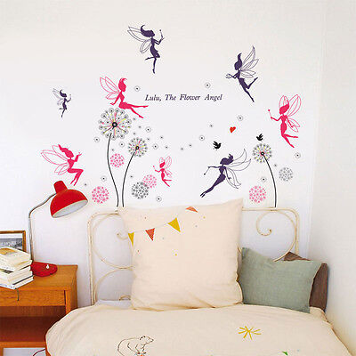 Fairies Pink Dandelion Wall Sticker Mural Decal Paper Art Decoration Living Room