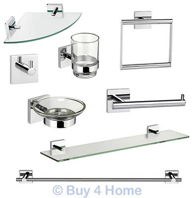 Croydex Chester Flexi-Fix - Chrome Wall Mounted X Plate Bathroom Accessories