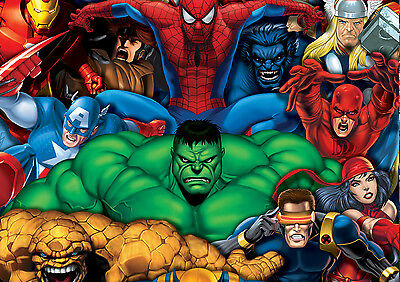Marvel Super Hero Characters Giant Poster - A0 A1 A2 A3 A4 Sizes