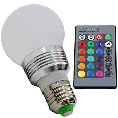 3W E27 RGB 5 Modes 16 Color Changing LED Spot Light Bulb Lamp+ IR Remote Control