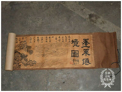 Chinese Ancient picture silk paper Landscape Figure Scroll painting