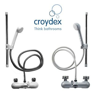 Croydex Bath Shower Mixer Set- Rub Clean Tap Connector Kit- White & Chrome Hoses