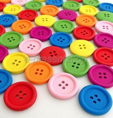 100Pcs Mixed Colors Round 4-Holes Wooden Sewing Buttons Scrapbooking 20mm Bnk232
