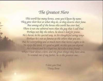 """The Greatest Hero"" Personalized Poem for Dad  Gift For Father's Day Birthday"