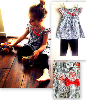 New TAG girls tunic top party dress 3/4 leggings age 2-3 3-4 4-5 years christmas