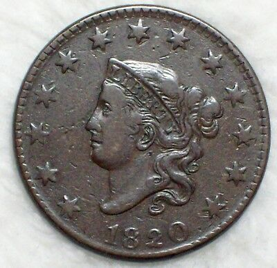 1820 CORONET Large Cent *RARE* N-12 Large Date R.3 VF+/XF Detailing - Brown Tone
