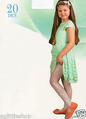 Girls White Tights with Flowers on the Side, 20 denier,  Age: 6 yrs to 13 yrs