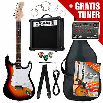 Electric Guitar Beginner Set Amplifier Tuner Gigbag Strap Picks Strings Sunburst