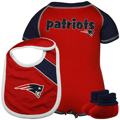 NFL New England Patriots Creeper Bib Bootie Set 12/ 24 Month Baby Toddler Onesie