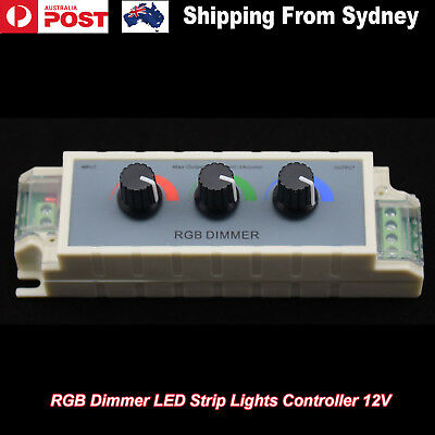 RGB Dimmer LED Strip Lights Controller 12V DC 108w 3528 5050 Adjustable Switch
