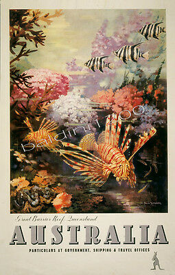 Australia High Quality Retro Vintage Great Barrier Reef Travel Poster Print