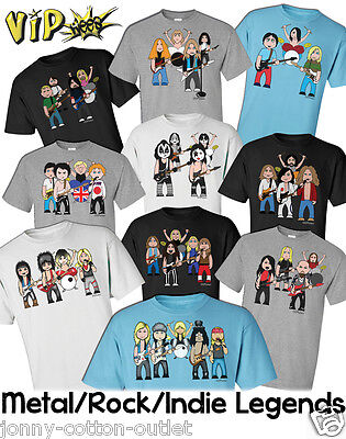 VIPwees Mens T-Shirt Rock Metal Music Inspired Caricatures Choose Your Design