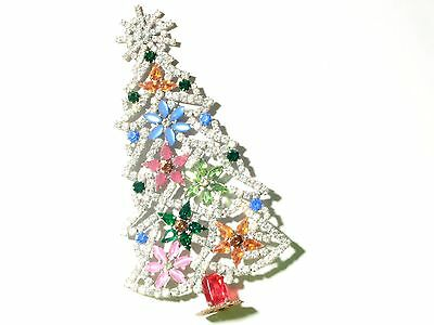 FREE STANDING VINTAGE CHRISTMAS TREE CZECH RHINESTONES CABOCHON FLOWER 12