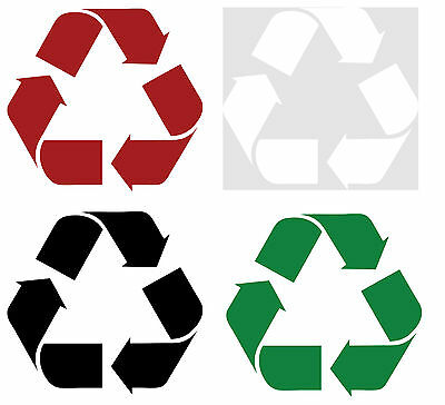 """Vinyl Recycling decal, Recycle sticker, 4"""",  8"""", 12"""", Black, red, white, green"""