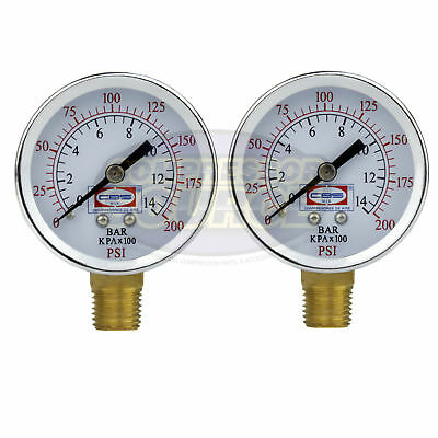 "2 Air Compressor Pressure Hydraulic Gauges 2"" Face Side Mount 1/4"" NPT 0-200 PSI"