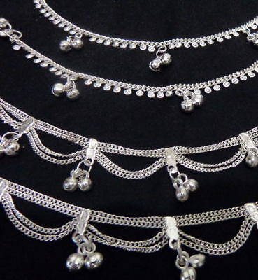 ethnic lot 4 silver bells anklet Ankle Bracelet India  Belly Dance foot jewelry