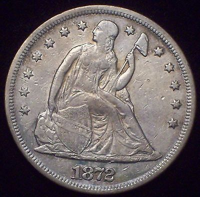 1872 Seated Liberty SILVER DOLLAR XF Detailing RARE Authentic *PRICED TO SELL*