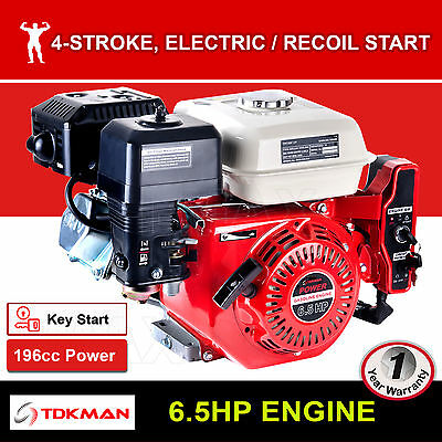 6.5HP Petrol Engine OHV Stationary Motor Horizontal Shaft Electric Start Recoil