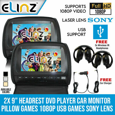 "Elinz 2x 9"" Headrest DVD Player Car Monitor Pillow Games 1080P USB Sony Lens"