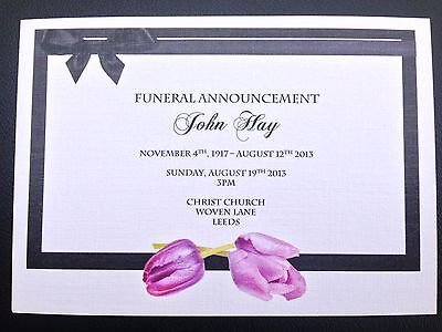 50 x Personalised Funeral Announcement / Invitation cards A6