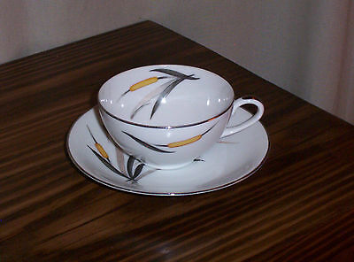 SANGO CUPS & SAUCERS - DEL-MAR CATTAILS - 3 SETS - FINE CHINA