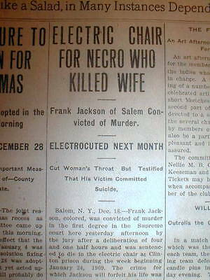 1908 newspaper Salem NEW YORK NEGRO to DIE in ELECTRIC CHAIR for MURDER of WIFE