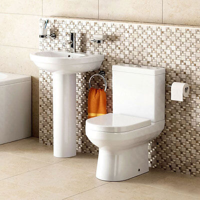 Bathroom Suite Toilet WC Basin Sink Close Coupled Toilet Full Pedestal Ceramic