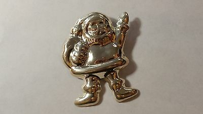 Vintage Solid Sterling Silver Santa Claus Christmas Brooch - Pin - Pinback