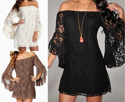 Women Sexy Floral Lace Strapless Sleeve Club Cocktail Evening Party Mini Dress
