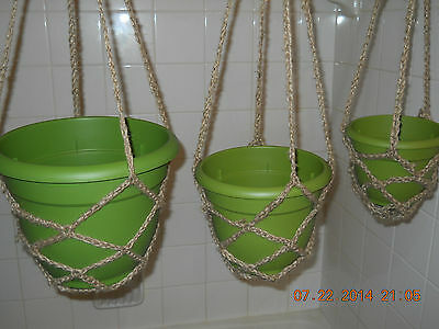 Plant Hanger Handmade Crocheted Natural or Brown Jute Twine  6 8 or 10 inch Pot