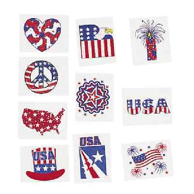 Glitter Tattoos 72 Pc Patriotic 4th of July Party Favor (35/14)