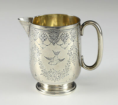 Sterling Silver Footed Cream Pitcher, Engraved, Hallmarks, 19th century, London