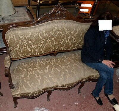 Sofa Couch Victorian Antique Original Walnut Handmade Carved Newly Upholstered
