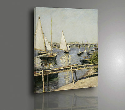 Gustave Caillebotte Barche ad Argentuil Quadro Stampa su Tela Vernice Pennellate
